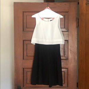 Limited black and white knee length cocktail dress